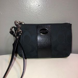 Vintage coach black leather trim canvas wristlet